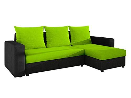 Ecksofa Top! Sofa Eckcouch Couch! mit Schlaffunktion und 2 Bettkasten! Ottomane Universal, L-Form Schlafsofa Farbauswahl (05. Korpus, Seiten, Rückenlehne: Alova 04; Sitzfläche, Kissen: Microfaza 62)