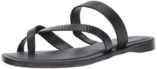 ALDO Women's Soda Flat Sandal, Black Leather, 6.5 B US
