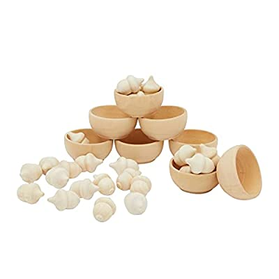 Unfinished Acorn Wood Pieces with Bowls, Sorting and Counting Toys (30 Pieces)