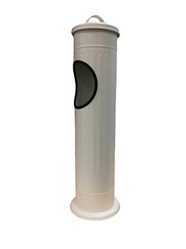 Cendrier sur pied en acier inoxydable brossé avec poubelle 56,6 x 14,7 cm, Acier inoxydable, Weiß