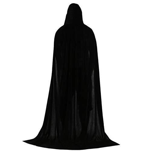 Preisvergleich Produktbild ZJFloral Kapuzenumhang aus Samt für Halloween,  Weihnachten,  Kostüme,  Erwachsene,  Vampir-Party,  Halloween,  Kostüme,  Geschenk Schwarz