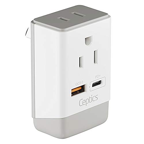 Australia New Zealand Power Plug Adapter Travel with QC 3.0 & PD by Ceptics, Safe Dual USB & USB-C - 2 USA Socket Compact & Powerful - Use in China Argentina Fiji Solomon - Type I AP-16 Fast Charging