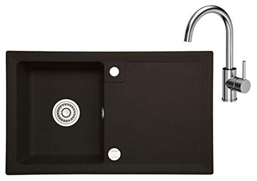 Spüle Granit 70x45 cm Einzelbecken Einbauspüle KüchenspüleSpültischarmatur 360°drehbar U- Form Wasserhahn Einhebel Kalt-warm
