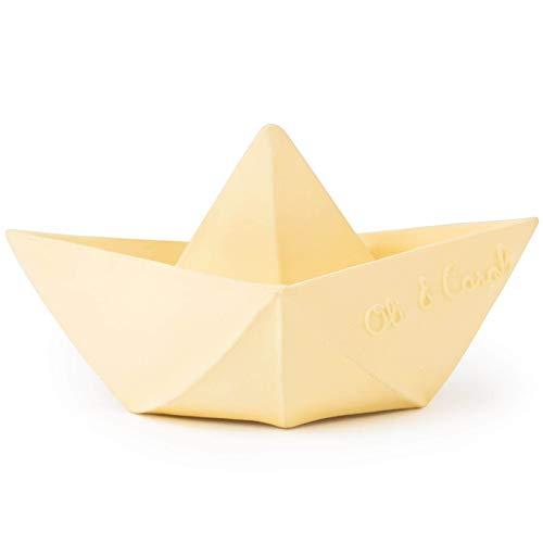 Oli & Carol - Juguete Baño de Caucho Natural, Barco Origami, Vanilla, 11 cm