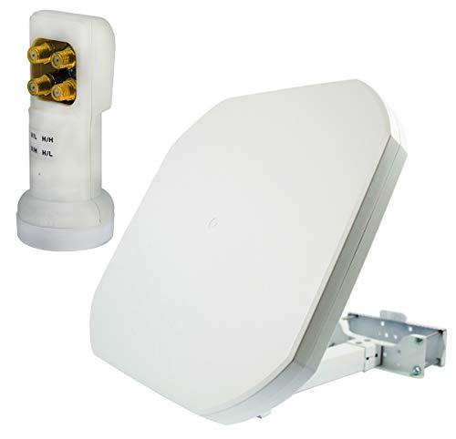 PremiumX FLAT43 SAT Flachantenne mit Quattro LNB Satellitenantenne HDTV 4K UltraHD, Sat-Anlage nur für Multischalterbetrieb