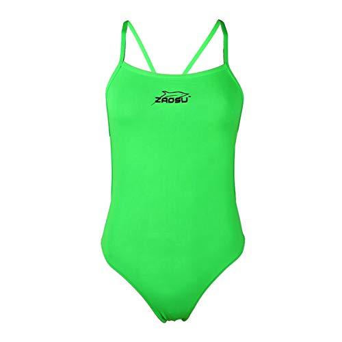 ZAOSU Damen und Mädchen Schwimmanzug Essential | Sport Badeanzug für das Schwimm Training, Größe:164, Farbe:neongrün