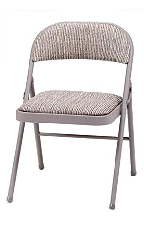 Bravich Deluxe Grey Beige Fabric Cushioned Padded Folding Chair| Comfortable Seat Office Reception Foldable Desk Chairs Easy Storage Backrest, 43.5 x 46 x 79.5 cm
