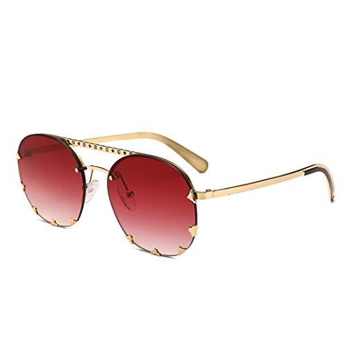 MIMIOOORE Unisex-Adulto Gafas de Sol metálicas de protección UV de la Lente Color Beach de conducción al Aire Libre (Color : Gold Frame Wine Red)