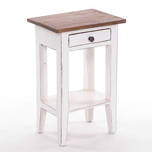 DESIGN DELIGHTS Planta - Tavolino per telefoni, stile vintage, 52 x 34 cm (altezza x larghezza), in legno massiccio di mogano, con cassetto, colore: 06 bianco