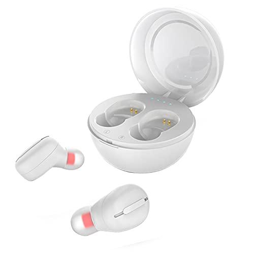 AchidistviQ Auriculares inalámbricos con Bluetooth, IPX5, resistentes al agua, TWS, estéreo, inalámbricos, con funda de carga, para deportes, cancelación de ruido, micrófono integrado, color blanco