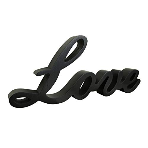 """CVHOMEDECO. Negro Signo de palabras de madera De pie """"Love"""" Escritorio / Shelf / Home Wall / Office Arte de decoración, 26 x 11,4 x 2,5 cm"""