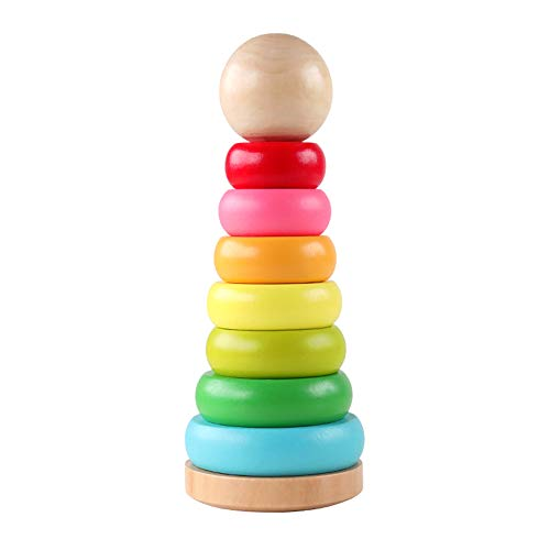 GEMEM Stacking Rings Toy Wooden Rainbow Stacker Toddler Learning Toys for 18 Months 2 Year Old Baby Boys Girls Non-Toxic