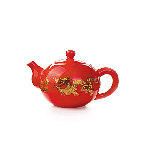 177ML Red Teapot Chinese Dragon Tea Pot Ceramic Tea Set Kettle Kung Fu Teapot Tea Service Wedding Gifts for Guests Friends,1