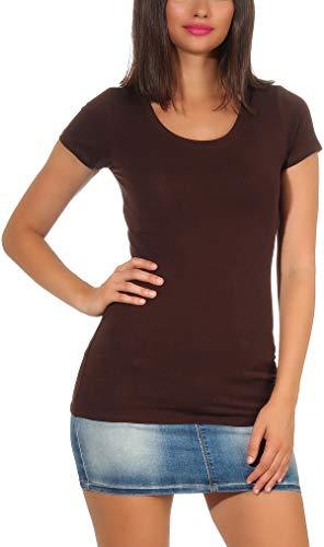 StyleLightOne - Camiseta básica de manga larga para mujer, elástica, cuello en V, corte entallado (36-42) Marrón oscuro (cuello redondo). 42-44
