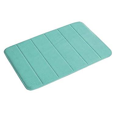 Flamingo P 17 X24  Microfiber Memory Foam Bath Mat with Anti-Skid Bottom Non-Slip Quickly Drying Green Striped Pattern