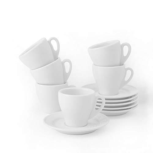Holst Porzellan IT 001 FA4 Mokka/Espresso-Set Italiano 0,08 l mit UTT 111, 12-teilig für 6 Personen, Porzellan, weiß