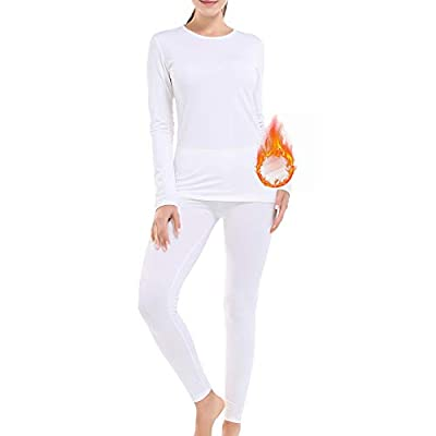 NUONITA Women's Thermal Underwear Long Johns Set Fleece Lined Base Ultra Soft Pajama (White, M)