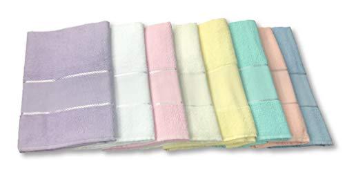 Tex Family, Handtuch-Set aus Frottee mit Aida-Stoff zum Besticken, 2 Stück, ein Handtuch und ein Gästetuch, inklusive Garn - Farbe: weiß