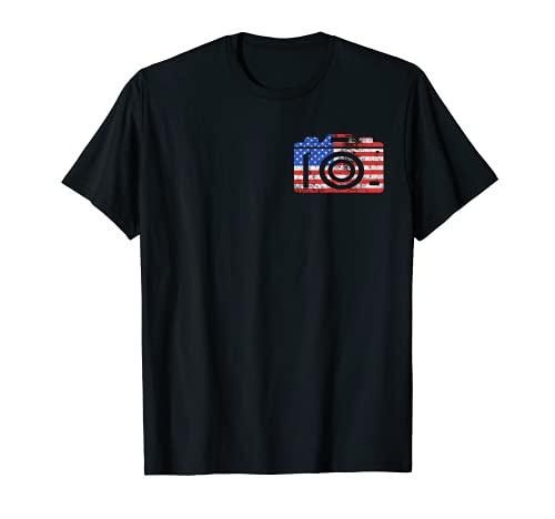Cámara Fotógrafo América Bandera USA Fotografía Amante Camiseta