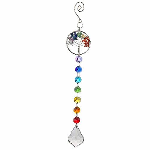 H&D Regenbogen Chakra Sonnenfänger hängende Baum des Lebens Anhänger Fenster dekor