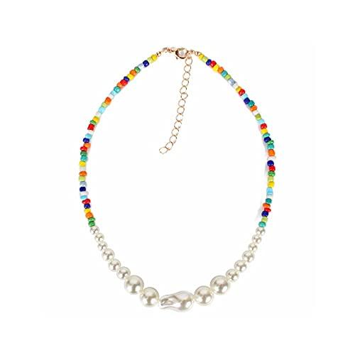 Gargantilla de perlas de colores bohemios para mujer