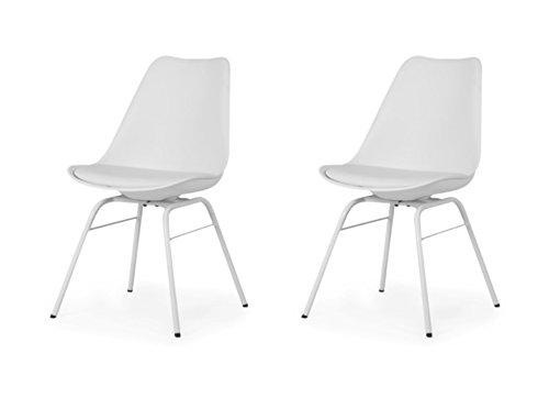 Tenzo 3235-001 Designer Lot de 2 chaises, Blanc, Coque en polypropylène, Coussin d'assise 100% polyurétyhane. Pieds en acier laqué, 83,5 x 48,5 x 54 cm (HxLxP)