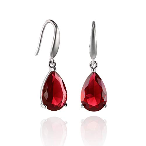 Namana Silver Pear Drop Earrings for Women. Available with 12mm AAA Red Stones in a Pear Cut. Red Drop Earrings with Giftbox