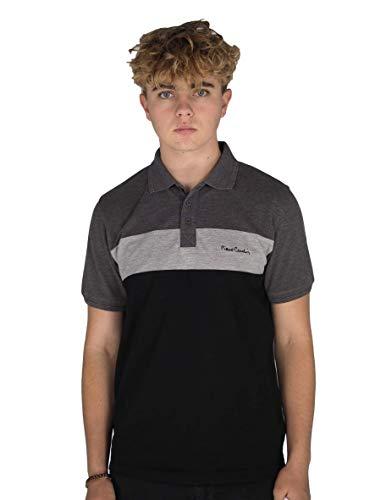 Pierre Cardin - New Season - Polo de piqué para hombre, 100% algodón, corte y costura, con cuello de piqué, con bordado de la firma Negro/Gris Marl S