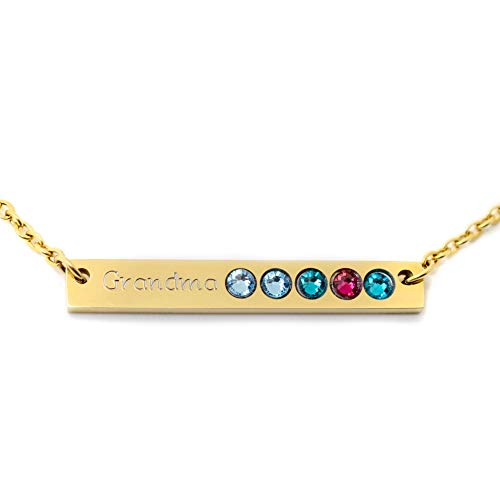 Personalized Horizontal Gold Bar Birthstone Necklace