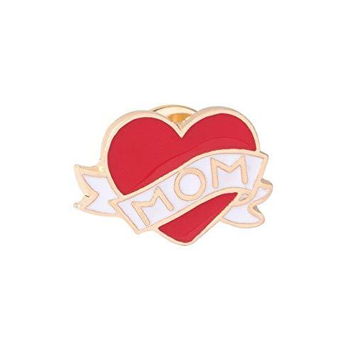 Gafas lindas Ojo Mamá Corazón Broches Alfileres de esmalte de metal Botón Insignias Chaquetas Pin de solapa Joyería de dibujos animados para niños Mujeres Accesorios-Corazón uno