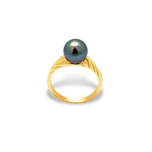 Ring Tahiti-Perle und Gelbgold 375/1000 - Blue Pearls - 56 BPS K404 W