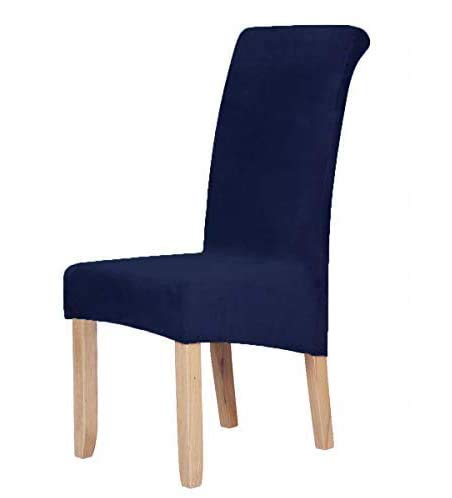 Velvet Stretch Dining Chair Slipcovers - Spandex Plush Short Chair Covers Solid Large Dining Room Chair Protector Home Decor Set of 2, Navy Blue