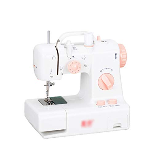 JUCAI Mini Electric Sewing Machine, 2-Speed 2-Thread Portable Handheld Sewing Machines with Extension Table Lamp Cutter and Foot Pedal Best for Family Travel Use