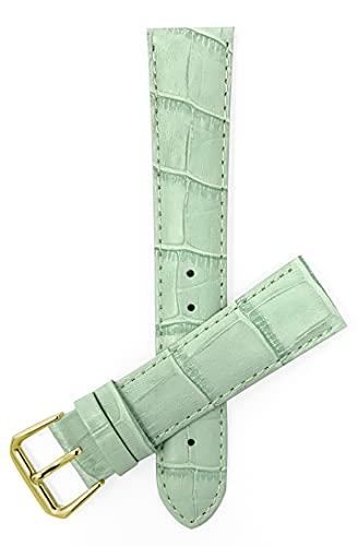Bandini Damen-Uhrenarmband aus Leder, Alligator-Muster, 8 Farben, 12 mm, 14 mm, 16 mm, 18 mm, 20 mm 20MM Hellgrün/goldene Schnalle