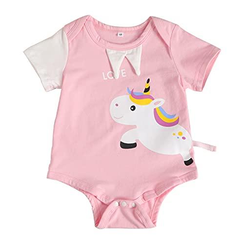 Mamelucos De Algodón para Bebés Recién Nacidos, Camiseta De Unicornio De Manga Corta para Niñas Y Niños, Monos De Una Pieza, Ropa De Verano para 0-12 Meses