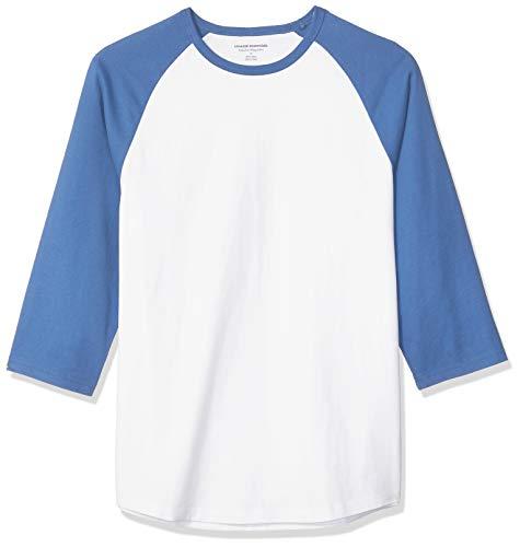 Amazon Essentials, Herren-Baseball-T-Shirt, Regular-Fit, 3/4-Ärmel, Blue/White, US S (EU S)