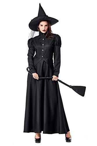 Disfraz de Bruja Malvada para Mujer Bruja Fantasmagorica Disfraz Conjunto de Mangas Largas Negro con Sombrero,M
