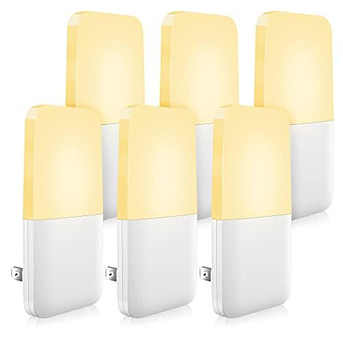 MAZ-TEK Plug in Night Light, Warm White LED Nightlights with Smart Dusk to Dawn Sensor for Kids, Nursery, Ideal for Bedroom, Bathroom,Hallway, Stairs, Kitchen, 6 Pack
