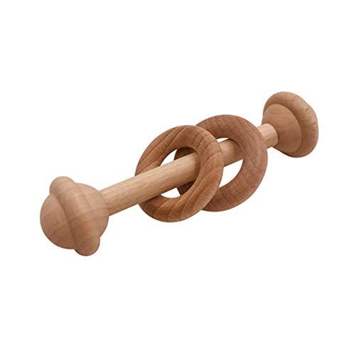 1PC Baby Beißring Spielzeug Buche Holz Rassel Holz Zahnen Nagetier Ring Musical Chew
