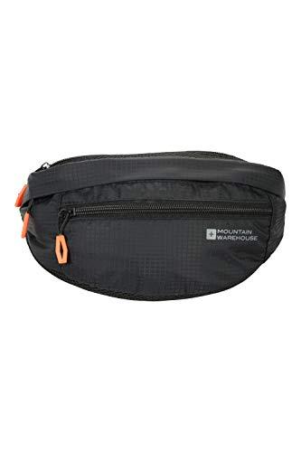 Mountain Warehouse Mission Bum Bag - leichte Hüft-Gürteltasche, Geldbeutel mit Schnalle, Gürteltasche mit Reißverschluss - ideal für Reisen, Wandern, Camping und Outdoor Schwarz Einheitsgröße
