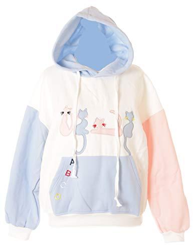 Sudadera con capucha TS-182, diseño de gatos, color azul, rosa, mezcla de parches, color...