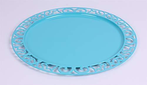 Adiserve sous-Assiette Ronde Turquoise Plastique réutilisable 30 cm par 4