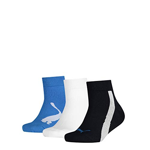 PUMA Kids' BWT Quarter Socks (3 Pack) Calzini, Navy/White/Strong Blue, 35-38 (Pacco da 3) Unisex-Bambini