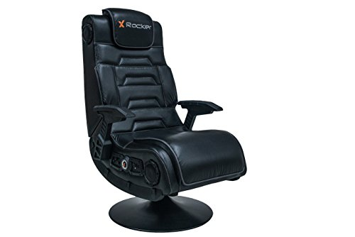 X-Rocker X-Pro 4.1 Pedestal Video Gaming Chair, Comfy Folding Game Player Seat with DAC Subwoofer and Wireless Bluetooth Connectivity, Leather Look - Black