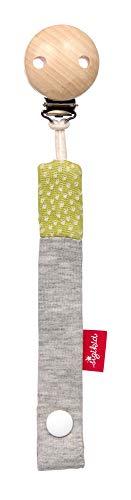 SIGIKID Mädchen und Jungen, Schnullerband Boller Schäfle, mit Holzclip, empfohlen ab  0 Monaten, grau/grün, 39294