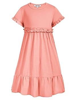 GRACE KARIN Girl s Ruffle Trim Sleeve Summer Beach A Line Loose Swing Dress Size 12Y,Light Pink