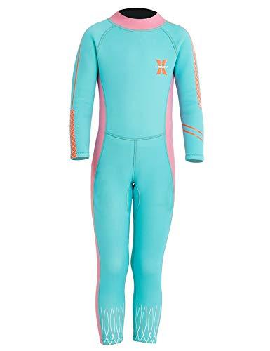 Echinodon Mädchen Neoprenanzug UPF 50+ 2.5MM Neopren Schwimmanzug Langarm UV Schutz Baby Kinder Hellblau XL