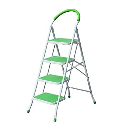 Escalera De 4 Escalones Escaleras De Mano De Metal para El Hogar Taburete Plegable con Empuñadura Y Pedal Ancho No Resbaladizo (Color : Green)