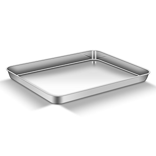 """AEMIAO Baking Sheet (16"""" x 12"""" x1""""), Stainless Steel 18/0 Bakeware Cookie Sheet Toaster Cake Pizza Oven Baking Pan Tray for Home Kitchen, Healthy Non Toxic, Mirror Finish Rust Free, Dishwasher Safe"""