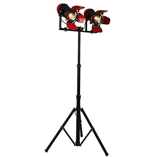 LIUJIE industriële vloerlamp Retro rood/zwart draaibaar in hoogte verstelbaar verstelbaar corpus E27 dubbele kop kleur smeedijzer statief